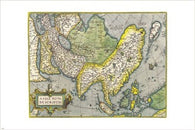 antique maps of asia ABRAHAM ORTELIUS vintage poster COLLECTORS 24X36