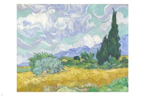 vincent van gogh painting A WHEATFIELD WITH CYPRESS poster 24X36 CLASSIC