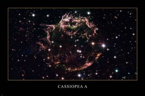 CASSIOPEA A GALAXY hubble space image poster 24X36 AWESOME colorful RARE