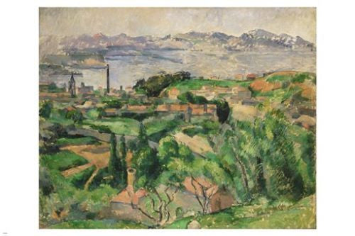 Paul Cézanne FINE ART PAINTING Poster 24X36 VIEW OF MARSEILLE BAY W/ VILLAGE