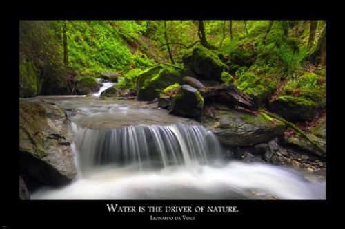 Leonardo da Vinci QUOTE ABOUT WATER Inspirational Poster 24X36 Nature
