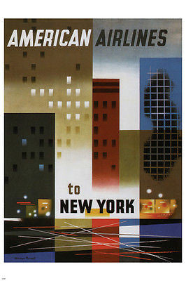 American Air Lines to New York Poster WEIMER PURSELL US 1956 COOL ART 24X36
