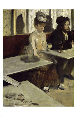 EDGAR DEGAS In a Café FINE ART POSTER reproduction 24X36 Impressionist