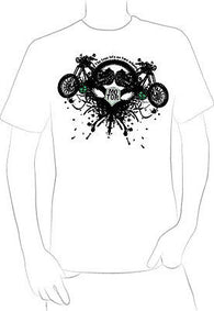 chopper 2 wheels motor bike vintage graphic t-shirt oil spatter adventure - A10
