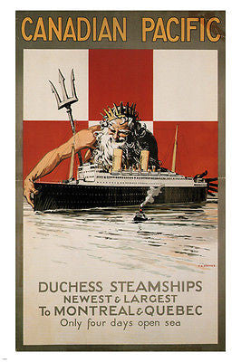 CANADIAN PACIFIC TRAVEL POSTER Percy Staynes CANADA 1929 24X36 Steamship