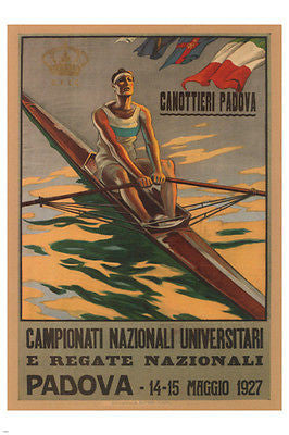 College National Championships & National Races Poster Italy 1927 24X36 New