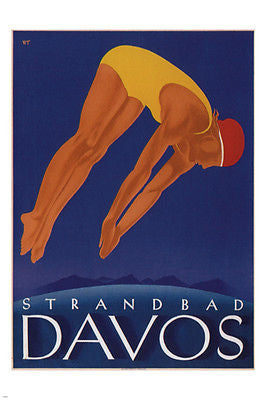 Davos lakeside beach VINTAGE TRAVEL POSTER Will Trapp SWITZERLAND '33 24X36