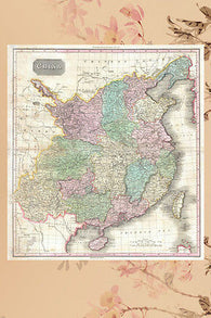1818 PINKERTON MAP OF CHINA WITH TAIWAN poster colorful historic 24X36