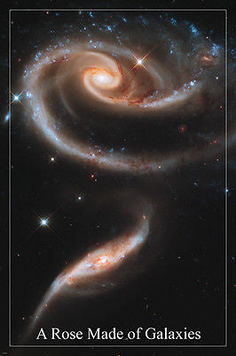 A ROSE made of GALAXIES hubble space image poster STARS OUTER SPACE 24X36