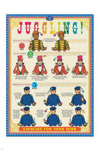 JUGGLING how to instruction poster 24X36 EDUCATIONAL coordination SPORT