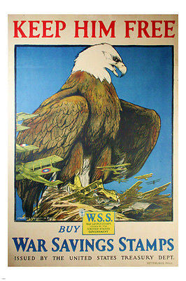 KEEP HIM FREE WW1 vintage USA poster EAGLE planes WAR savings stamps 24X36