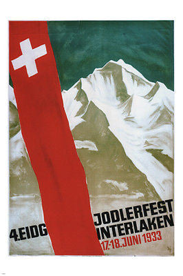 Eidg Jodlerfest Interlaken POSTER Alex Diggelmann Switzerland 1933 24X36