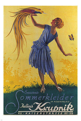 ADORABLE SUMMER DRESSES Poster Austria 1928 24X36 Exotic Bird Butterfly