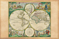 1670_WOLD MAP NOVA ORBIT DE WIT POSTER historic painted scenes borders 24X36