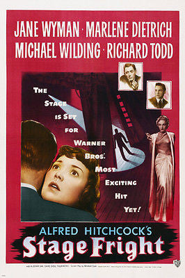 HITCHCOCK Stage Fright MOVIE POSTER jane WYMAN marlene DIETRICH 24X36 crime