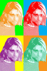KURT KOBAIN celebrity singer POP ART poster multiple images 24X36 COLORFUL