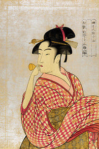 utamaro YOUNG LADY BLOWING ON A POPPIN japanese fine arts poster 1790 24X36