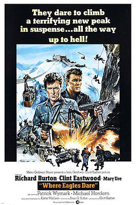 WHERE EAGLES DARE movie poster Richard Burton Clint Eastwood 24X36 ADVENTURE