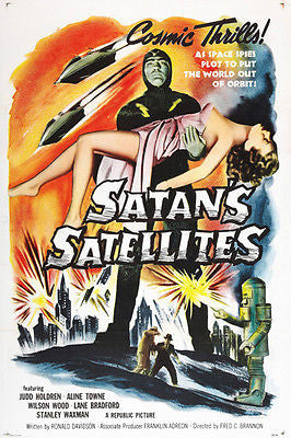 satans satellites VINTAGE MOVIE POSTER cosmic thrills 24X36 spooky campy