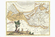 1776 MAP OF CALIFORNIA & WESTERN PARTS OF US POSTER vintage very rare 24x36