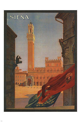 SIENA ITALY vintage travel poster 1925 HISTORIC 24X36 rare SPECTACULAR!