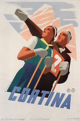 CORTINA vintage travel poster MARIO PUPPO ITALY 1938 24X36 HOT COLLECTORS