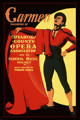 Cuyahoga County Opera presents CARMEN WPA POSTER 1939 24X36 COLORFUL unique