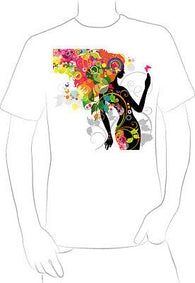 cool trendy colorful floral girl design T-SHIRT UNIQUE RARE ONE OFF  - A10