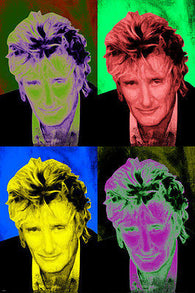 ROD STEWART celebrity singer POP ART POSTER multiple images 24X36 rare NEW