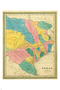 1839 BRADFORD REPUBLIC OF TEXAS MAP poster24X36 PRIZED collectors COLORFUL