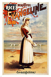 1896 BEAUTIFUL EVANGELINE vintage performing arts poster  24X36 DECORATIVE