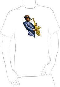 COOL JAZZ Saxophone Player Painting t-shirt music ART ORIGINAL BLACK MUSIC - A10
