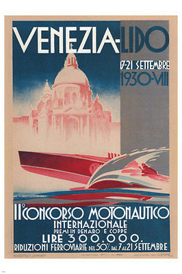 Motorboats International Competition Poster FRANZ LENHART ITALY 1930 24X36