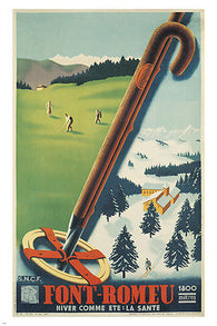 FONT-ROMEU vintage train travel poster 24X36 SKIING GOLF SPORTS first rate