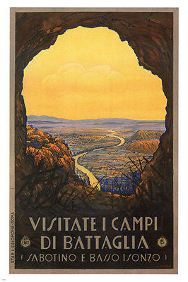 VISIT THE BATTLEFIELDS vintage travel POSTER Amos Scorzon Italy 1928 24X36
