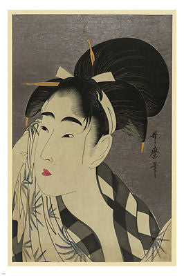 JAPANESE FINE ART PRINT Ase o Fuku onna Japan 24X36 Woman's Profile RARE!