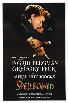 hitchcock SPELLBOUND movie poster INGRID BERGMAN GREGORY PECK mystery 24X36