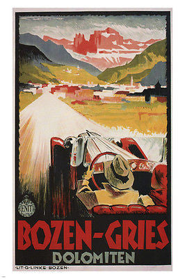 BOZEN-GRIES CLASSIC CAR POSTER Franz Lenhart Italy 1934 24X36 Countryside