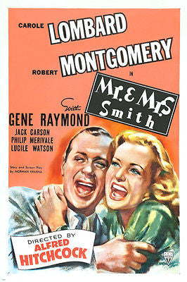 MR. and MRS. SMITH movie POSTER carole LOMBARD robert MONTGOMERY 24X36 hot