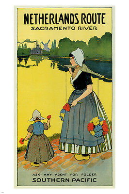 Netherlands Route Vintage Travel Poster RANDAL BOROU usa 1911 24X36 DUTCH