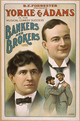 vintage Yorke & Adams Bankers & Brokers Poster 24X36 Musical Comedy Biz new
