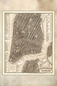 1853 PLAN VON NEW YORK poster GRID MAP rare INTRICATE historic 24X36