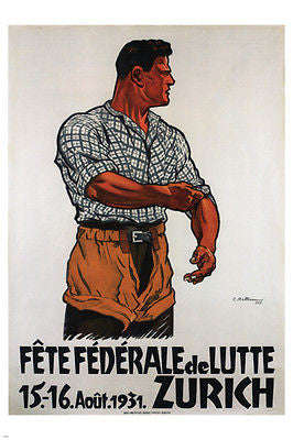 Federal Festival of Fight VINTAGE POSTER C. Rüttimann Switzerland '31 24X36