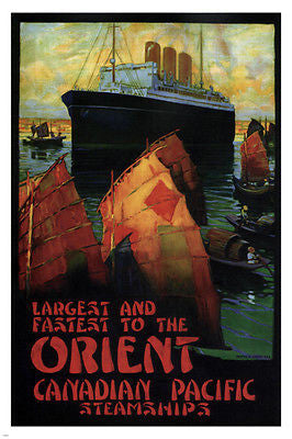 Largest and Fastest to the Orient VINTAGE AD POSTER 24x36 Canada 1924 boat