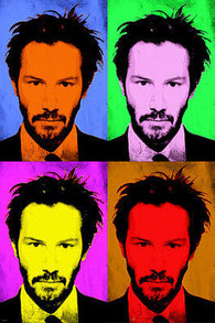 POP ART POSTER KEANU REEVES actor celebrity multiple images 24X36 colorful