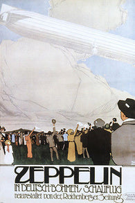HISTORIC ZEPPELIN IN FLIGHT GERMAN POSTER memorobilia crowd cheering 24X36 