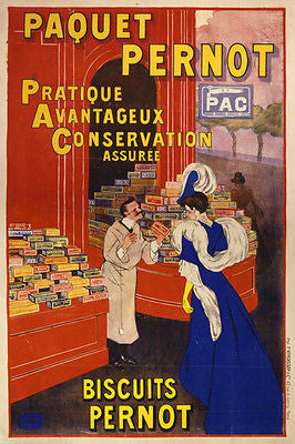 vintage french advertising poster BISCUITS PERNOT 24X36 PRIZED CLASSIC gem