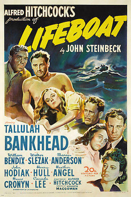 ALFRED HITCHCOCK'S Lifeboat Movie Poster Tallulah Bankhead SUSPENSE 24X36