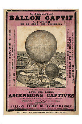 GRAND BALLON CAPTIF 1878 vintage fench AD POSTER PARIS 24X36