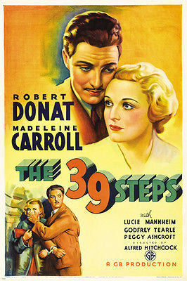 robert donat madeleine carroll MOVIE POSTER THE 39 STEPS hitchcock 24X36